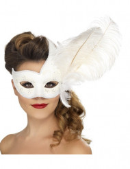 Antifaz veneciano blanco pluma blanca adulto