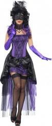 Disfraz de condesa violeta sexy mujer