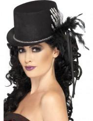 Sombrero de copa negro con mano de esqueleto y plumas mujer
