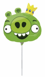 Globo aluminio Angry Birds™ verde 20 cm