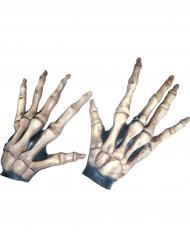 Guantes cortos huesos esqueleto adulto Halloween