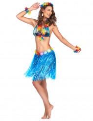 Falda hawaiana corta azul