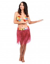 Falda hawaiana corta rosa