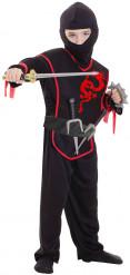 Disfraz ninja ribete rojo niño