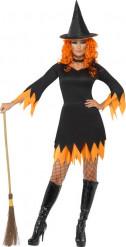 Disfraz de bruja naranja y negro mujer Halloween