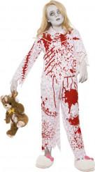 Disfraz de zombie en pijama para niña