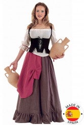 Disfraz de mesera medieval mujer