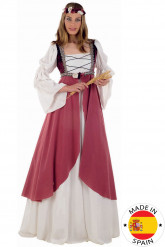 Disfraz medieval rosa mujer