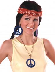 Pendientes y colgante Hippie azul