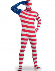 Disfraz segunda piel bandera USA adulto