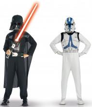 Disfraz de Dark Vader y Clone Trooper Star Wars™ niño