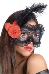Antifaz con encaje negro con flor y pluma adulto