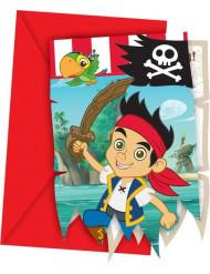 6 Tarjetas de invitación Jake y los piratas™