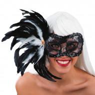 Antifaz encaje negro plumas adulto