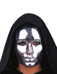 Máscara rostro plateado cromado adulto