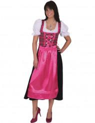 Disfraz tradicional cuadros rosas bávara mujer
