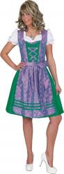 Disfraz tradicional de bávara verde y violeta mujer
