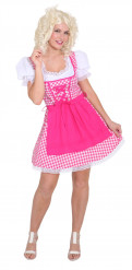 Disfraz bávaro tradicional rosa cuadros mujer