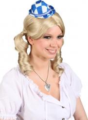 Mini sombrero bávaro blanco y azul