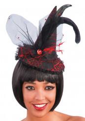 Mini sombrero bruja puntilla roja adulto