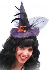Mini sombrero bruja puntilla violeta adulto