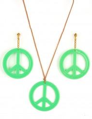 Pendientes y collar Hippie verde