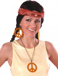 Pendientes y collar hippie naranja