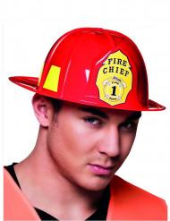 Casco de bombero rojo adulto