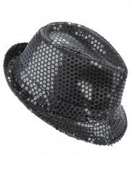 Sombrero lentejuelas negro adulto