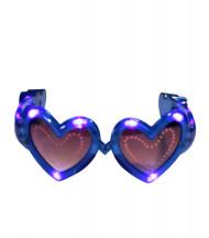 Gafas de corazón azul LED