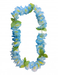 Collar hawaiano de flores en azul
