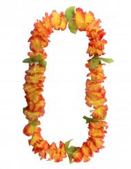 Collar hawaiano de flores naranja