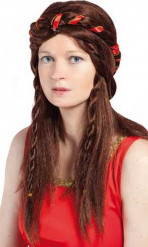 Peluca medieval marrón mujer