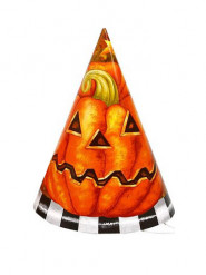 Lote de 6 sombreros cartón calabaza Halloween
