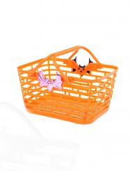 Cesta naranja para caramelos Halloween