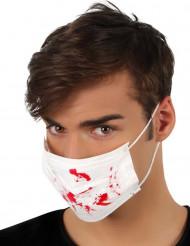 Máscara blanca manchas de sangre