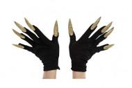 Guantes negros con uñas largas doradas adulto