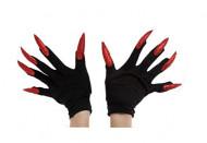 Guantes negros con uñas largas rojo Halloween