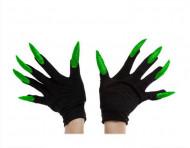 Guantes negros con uñas largas adulto