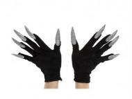 Guantes negros con uñas largas plateadas adulto