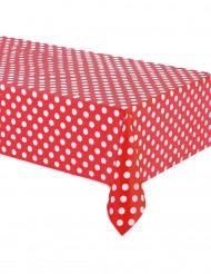 Mantel rojo puntos blancos plástico 137x274 cm