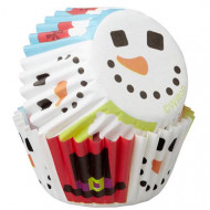 100 Mini moldes de cupcakes muñeco de nieve