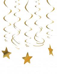 30 Decoraciones colgantes estrella dorada