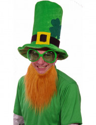 Sombrero verde con barba peliroja San Patricio