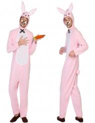 Disfraz de conejo blanco y rosa adulto