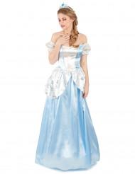 Disfraz de princesa blanco y azul mujer