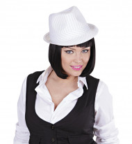 Sombrero gangster blanco adulto