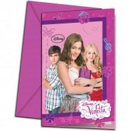 6 Tarjetas de invitación con sobres Violetta™