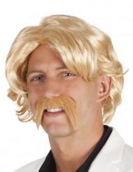 Peluca rubia con bigote hombre