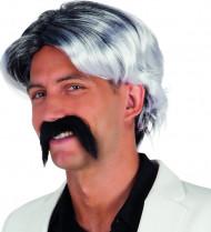 Peluca canosa con bigote hombre